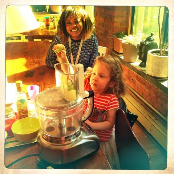 kids using the food processor