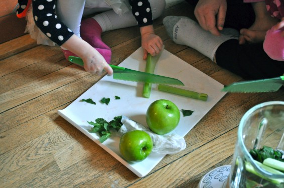 chopping fruits and vegetables with a lettuce knife