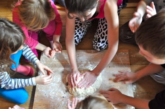 kneading the soda bread