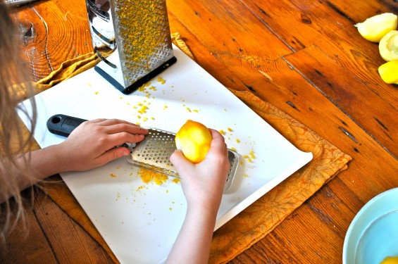 grating the lemon rind