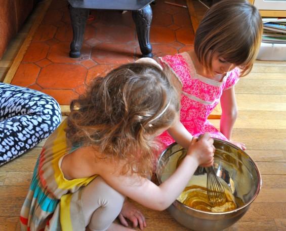 stirring lemon ricotta cake