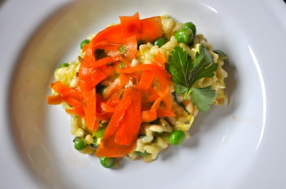 Risotto with Ramps, Peas, and Pickled Carrots